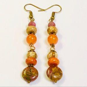 Long Textural Jasper Agate & Chrysocolla Earrings